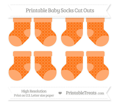Free Pumpkin Orange Quatrefoil Pattern Small Baby Socks Cut Outs