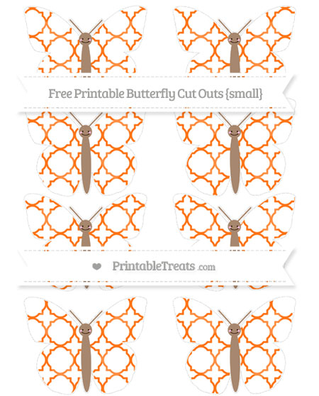 Free Pumpkin Orange Quatrefoil Pattern Small Smiley Butterfly Cut Outs