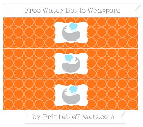 Free Pumpkin Orange Quatrefoil Pattern Whale Water Bottle Wrappers