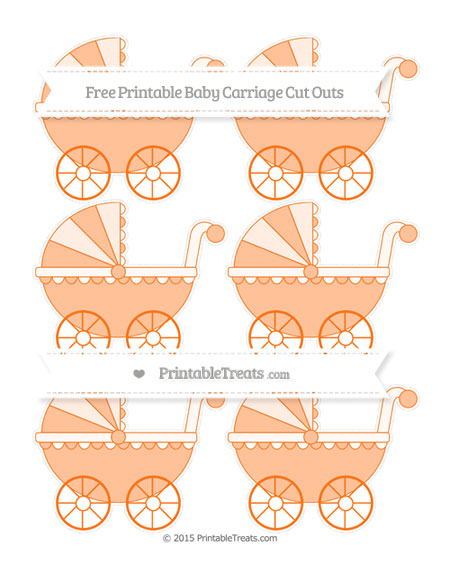 Free Pumpkin Orange Small Baby Carriage Cut Outs