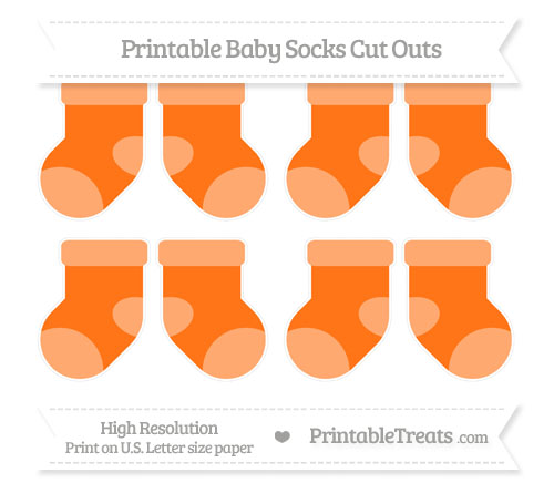 Free Pumpkin Orange Small Baby Socks Cut Outs