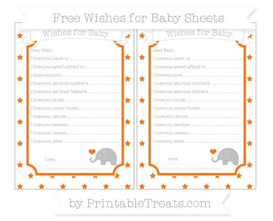 Free Pumpkin Orange Star Pattern Baby Elephant Wishes for Baby Sheets