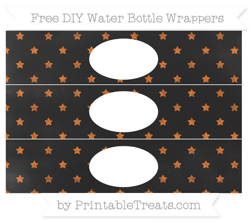Free Pumpkin Orange Star Pattern Chalk Style DIY Water Bottle Wrappers
