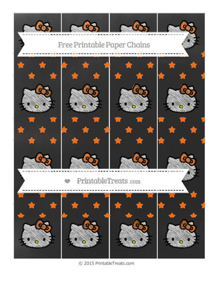 Free Pumpkin Orange Star Pattern Chalk Style Hello Kitty Paper Chains