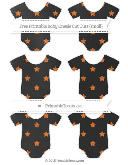 Free Pumpkin Orange Star Pattern Chalk Style Small Baby Onesie Cut Outs