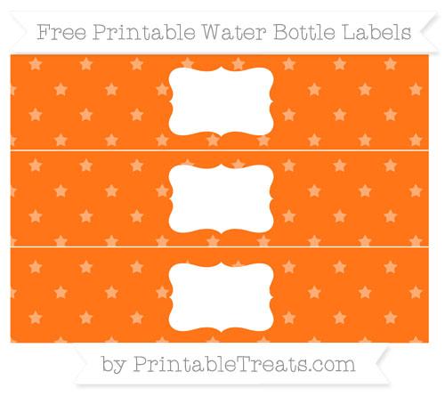 Free Pumpkin Orange Star Pattern Water Bottle Labels