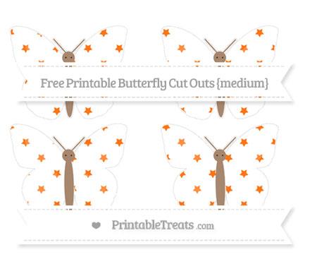 Free Pumpkin Orange Star Pattern Medium Butterfly Cut Outs