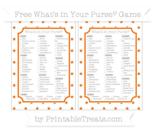 Free Pumpkin Orange Star Pattern What's in Your Purse Baby Shower Game