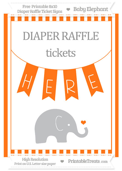 Free Pumpkin Orange Striped Baby Elephant 8x10 Diaper Raffle Ticket Sign
