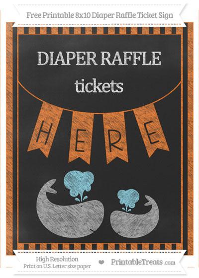 Free Pumpkin Orange Striped Chalk Style Baby Whale 8x10 Diaper Raffle Ticket Sign