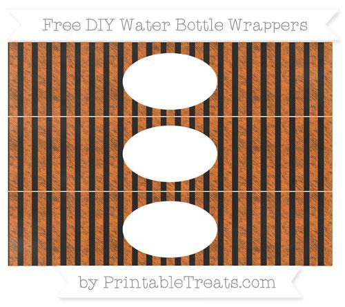 Free Pumpkin Orange Striped Chalk Style DIY Water Bottle Wrappers