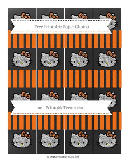 Free Pumpkin Orange Striped Chalk Style Hello Kitty Paper Chains