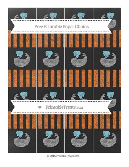 Free Pumpkin Orange Striped Chalk Style Whale Paper Chains