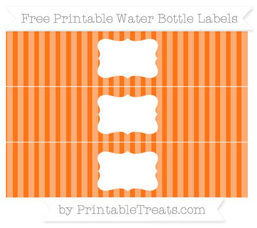 Free Pumpkin Orange Striped Water Bottle Labels