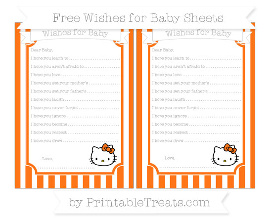 Free Pumpkin Orange Striped Hello Kitty Wishes for Baby Sheets