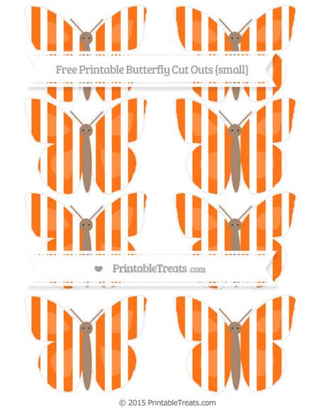 Free Pumpkin Orange Striped Small Butterfly Cut Outs