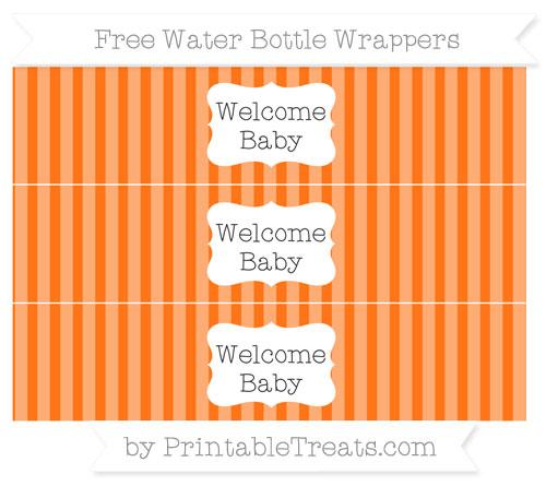 Free Pumpkin Orange Striped Welcome Baby Water Bottle Wrappers