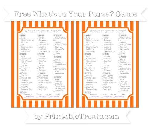 Free Pumpkin Orange Striped What's in Your Purse Baby Shower Game