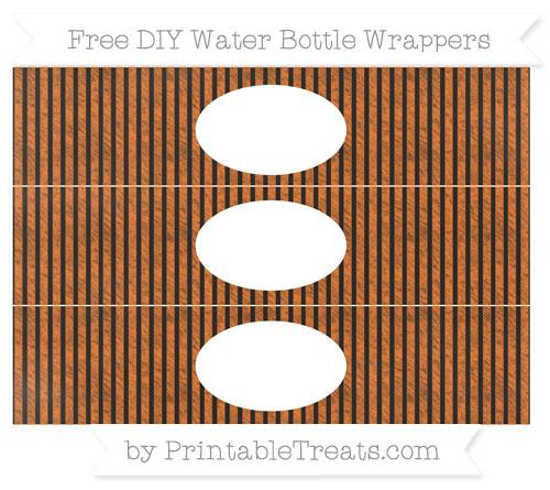 Free Pumpkin Orange Thin Striped Pattern Chalk Style DIY Water Bottle Wrappers