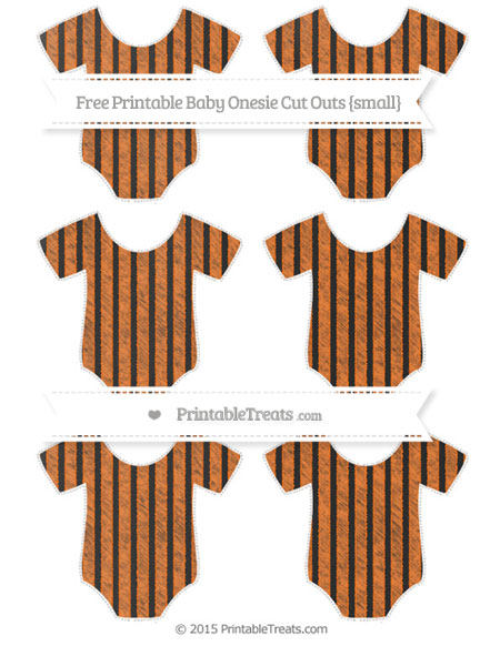 Free Pumpkin Orange Thin Striped Pattern Chalk Style Small Baby Onesie Cut Outs