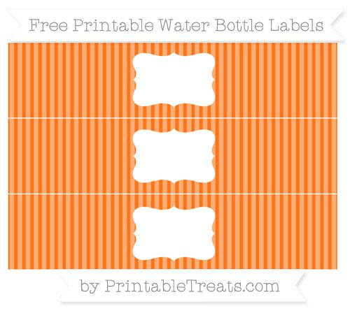 Free Pumpkin Orange Thin Striped Pattern Water Bottle Labels