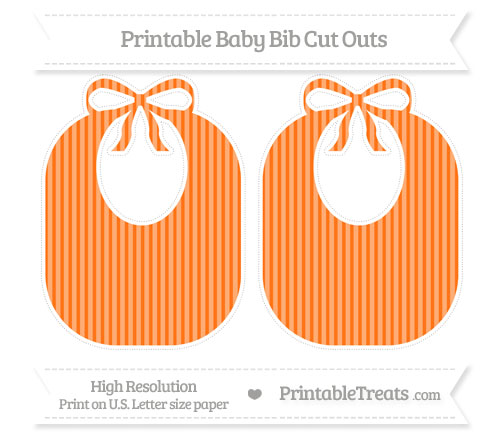 Free Pumpkin Orange Thin Striped Pattern Large Baby Bib Cut Outs