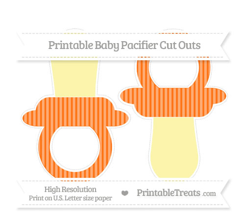 Free Pumpkin Orange Thin Striped Pattern Large Baby Pacifier Cut Outs