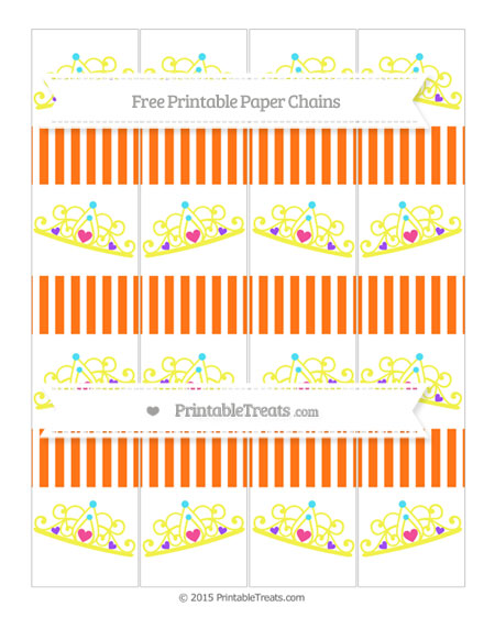 Free Pumpkin Orange Thin Striped Pattern Princess Tiara Paper Chains