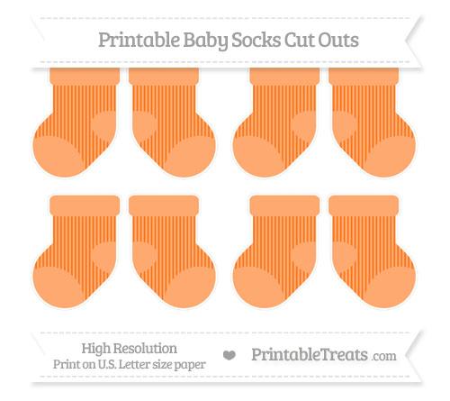 Free Pumpkin Orange Thin Striped Pattern Small Baby Socks Cut Outs
