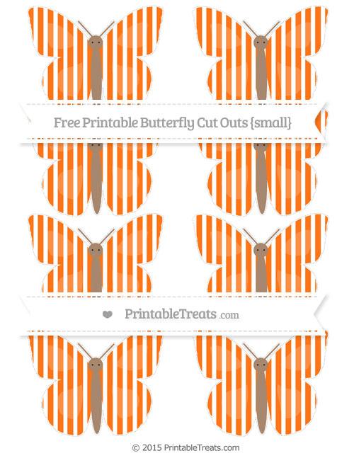 Free Pumpkin Orange Thin Striped Pattern Small Butterfly Cut Outs