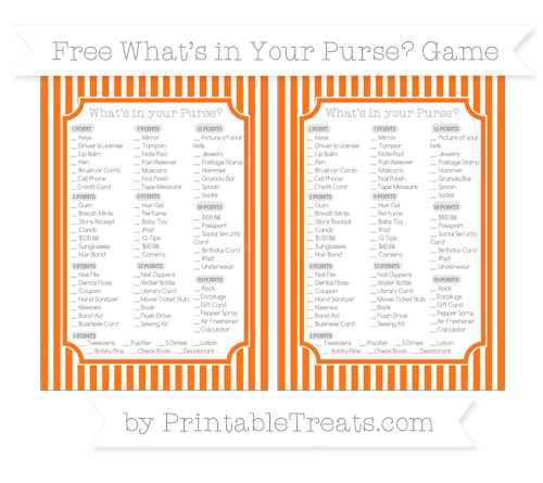 Free Pumpkin Orange Thin Striped Pattern What's in Your Purse Baby Shower Game
