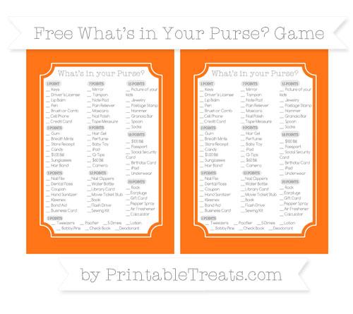 Free Pumpkin Orange What's in Your Purse Baby Shower Game