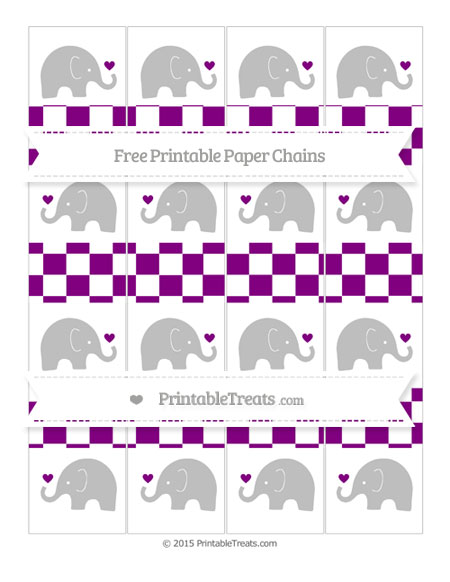 Free Purple Checker Pattern Baby Elephant Paper Chains