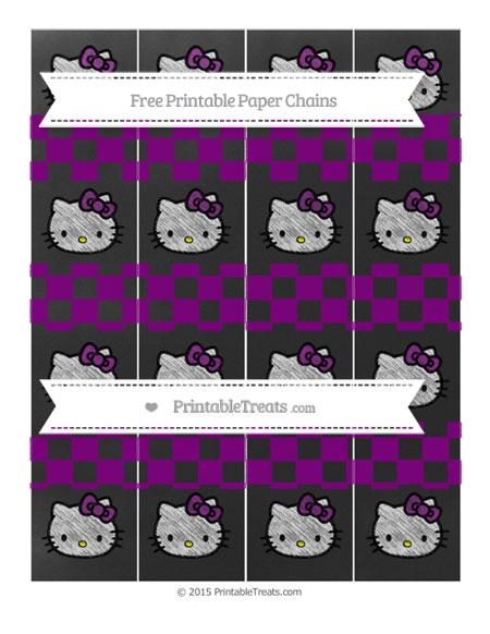 Free Purple Checker Pattern Chalk Style Hello Kitty Paper Chains