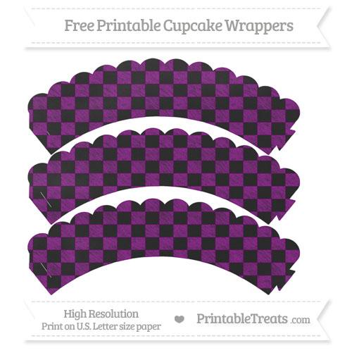 Free Purple Checker Pattern Chalk Style Scalloped Cupcake Wrappers