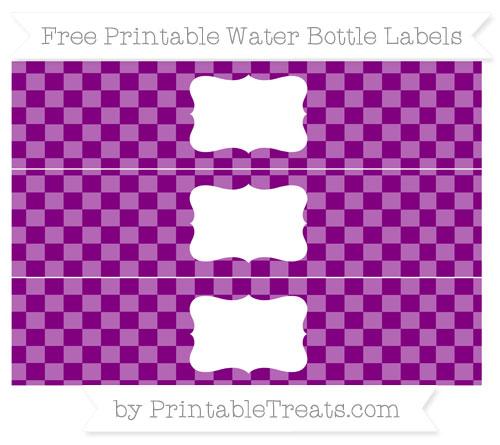 Free Purple Checker Pattern Water Bottle Labels