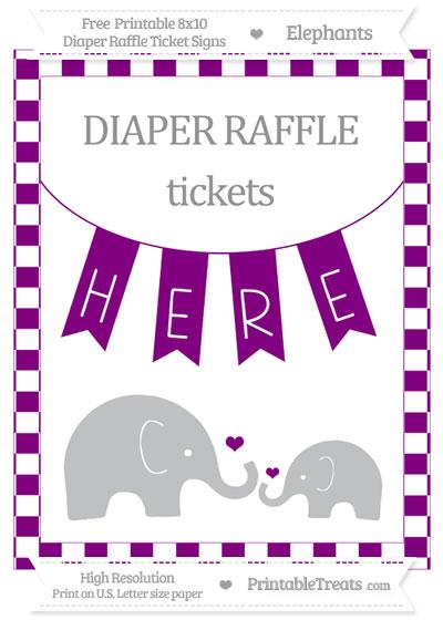 Free Purple Checker Pattern Elephant 8x10 Diaper Raffle Ticket Sign