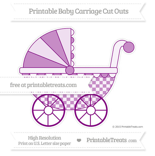 Free Purple Checker Pattern Extra Large Baby Carriage Cut Outs