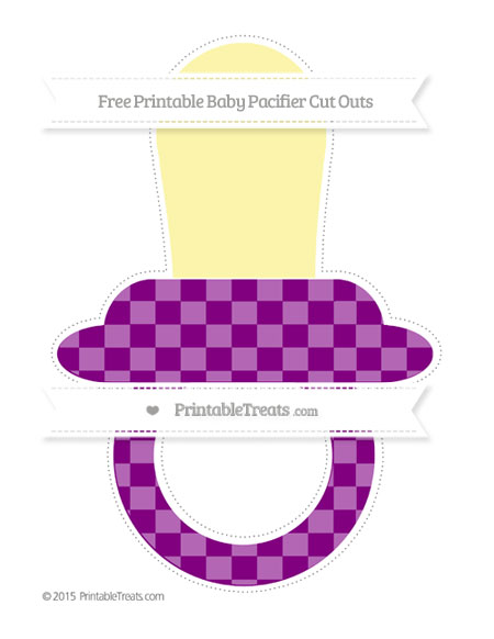 Free Purple Checker Pattern Extra Large Baby Pacifier Cut Outs