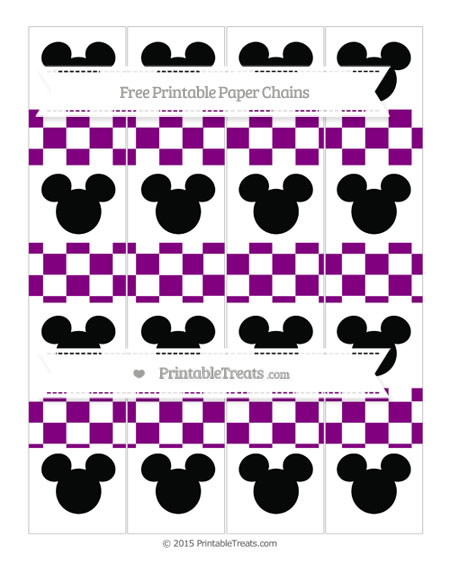 Free Purple Checker Pattern Mickey Mouse Paper Chains