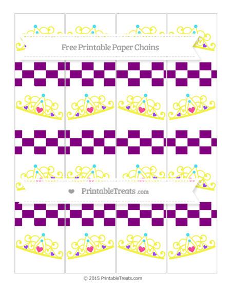 Free Purple Checker Pattern Princess Tiara Paper Chains