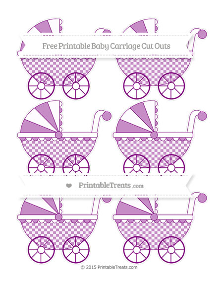 Free Purple Checker Pattern Small Baby Carriage Cut Outs