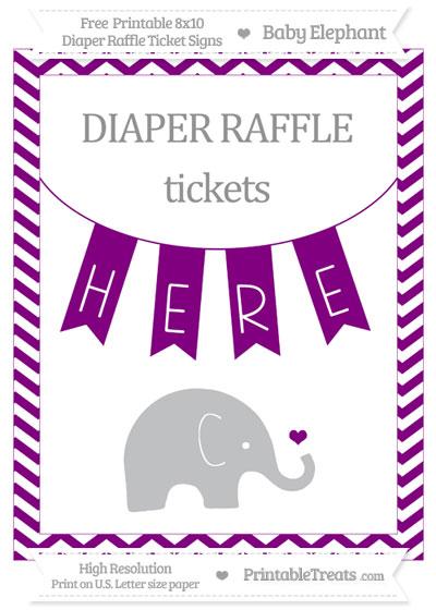 Free Purple Chevron Baby Elephant 8x10 Diaper Raffle Ticket Sign