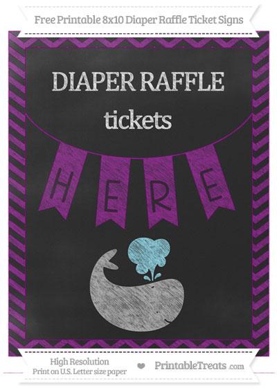 Free Purple Chevron Chalk Style Whale 8x10 Diaper Raffle Ticket Sign