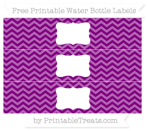 Free Purple Chevron Water Bottle Labels