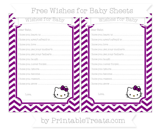 Free Purple Chevron Hello Kitty Wishes for Baby Sheets