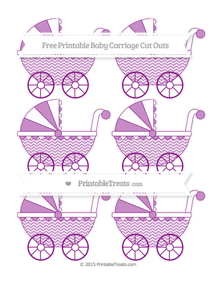 Free Purple Chevron Small Baby Carriage Cut Outs