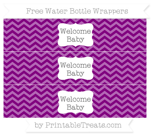 Free Purple Chevron Welcome Baby Water Bottle Wrappers