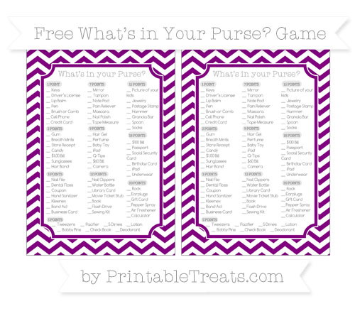 Free Purple Chevron What's in Your Purse Baby Shower Game