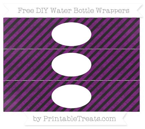 Free Purple Diagonal Striped Chalk Style DIY Water Bottle Wrappers